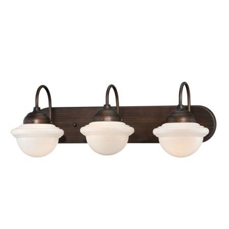 Photo of Millennium Lighting 5413-RBZ Neo-Industrial 3 Light bathroom vanity lamp made of rubbed bronze