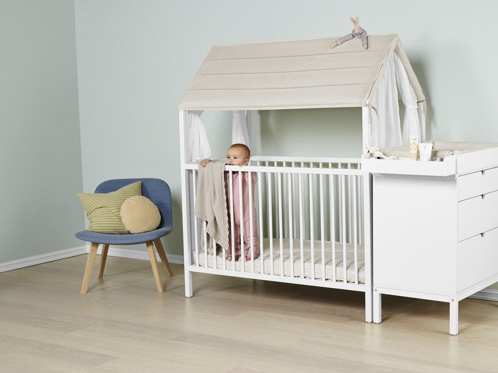 Stokke Kinderzimmer ~ Stokke home crib in white with tent textile mysweetbaby