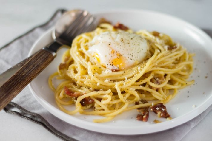 Spaghetti Carbonara With Sous Vide Poached Egg Recipe Spaghetti Carbonara Sous Vide Poached Eggs Sous Vide