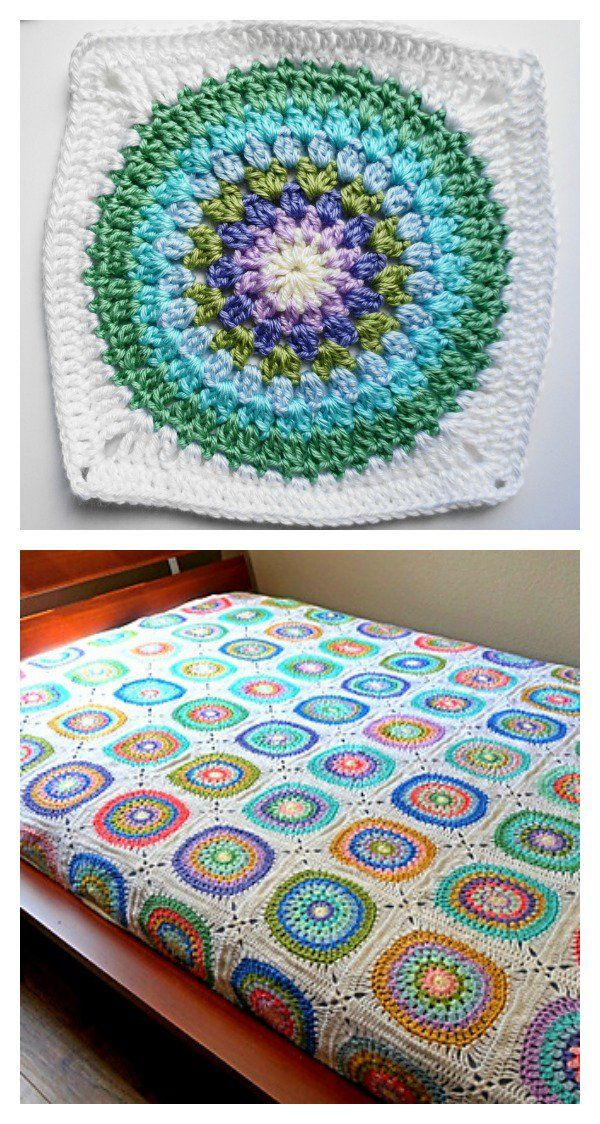 Large Circle in Square Blanket Free Crochet Pattern   Häkeldecken ...
