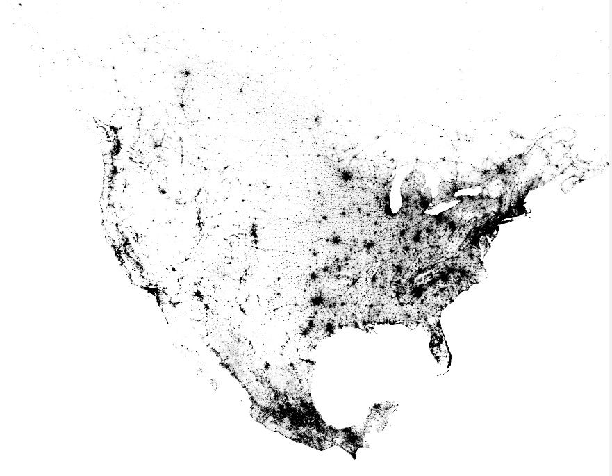 Cool Census Dotmap Of The US Canada And Mexico Created By - Census dot map us