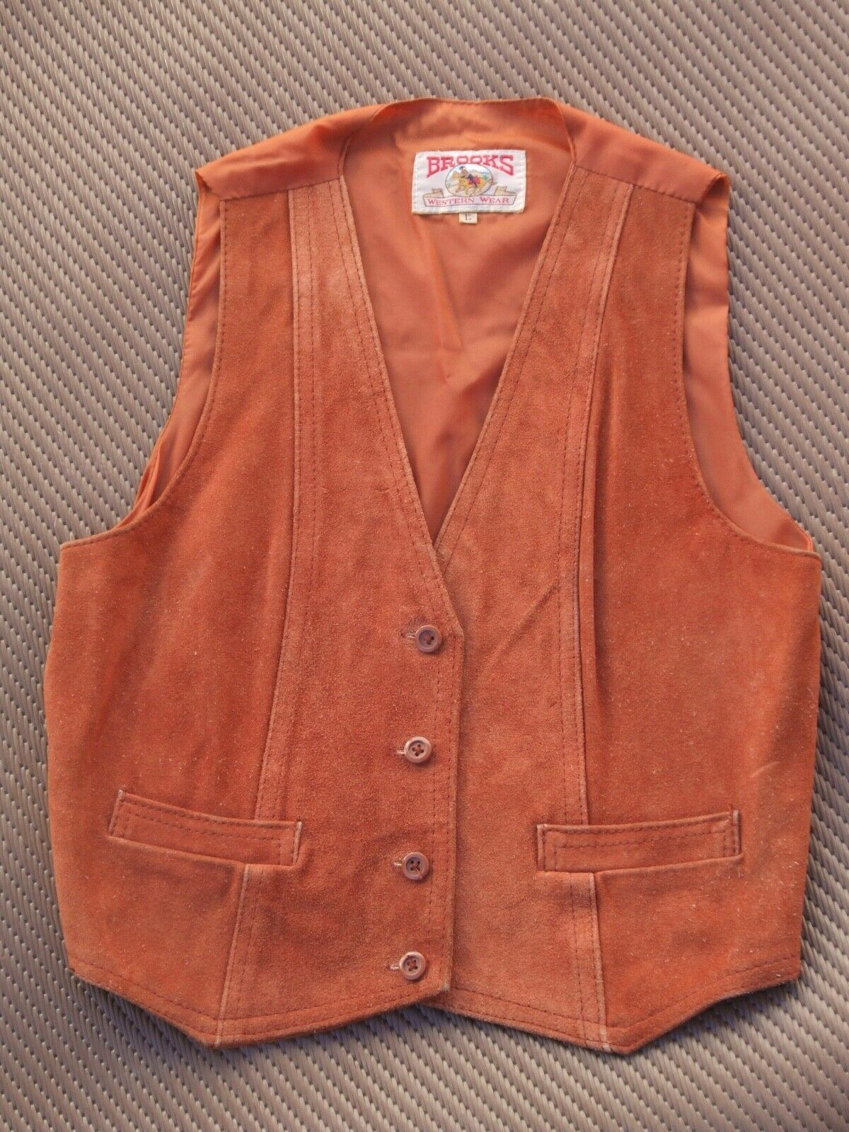 Suede Leather Vest Western 70s button up small buckle lined pockets small
