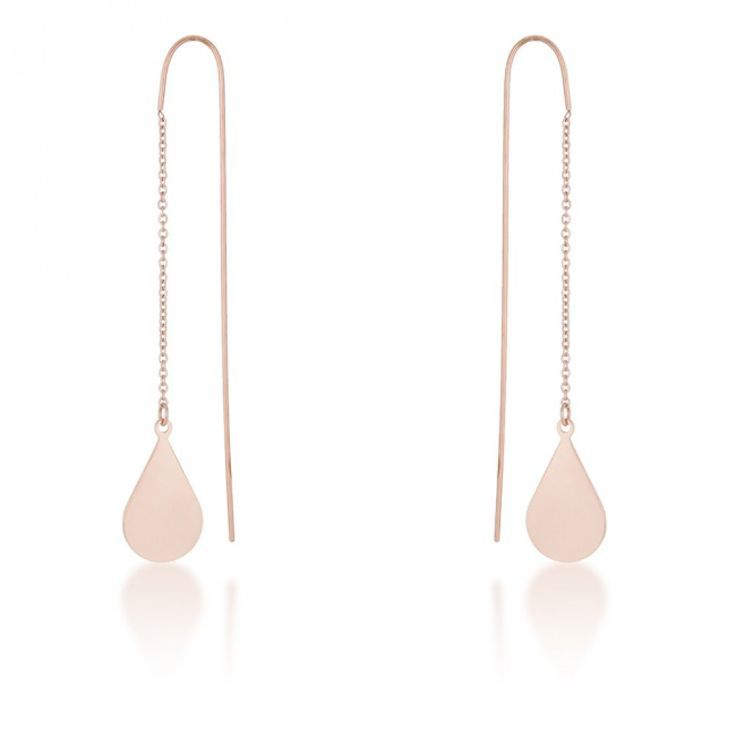 Chloe Rose Gold Stainless Steel Teardrop Threaded Drop Earrings