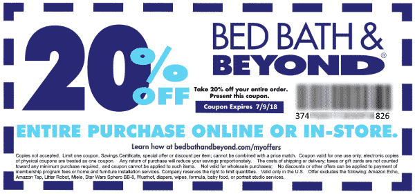 Bed Bath Beyond 20 Off Entire Purchase