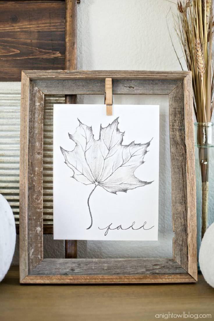 DIY Wooden Frame with a Free Fall Leaf Printable & DIY Wooden Frame with a Free Fall Leaf Printable | Hallway ...