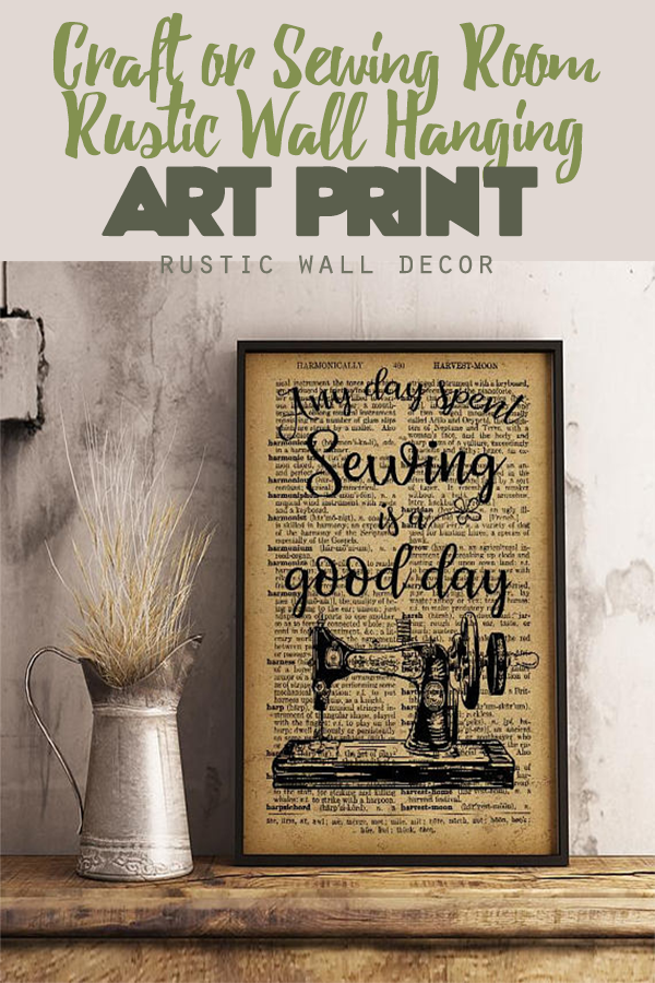 this sewing room rustic wall hanging is perfect to give a rustic