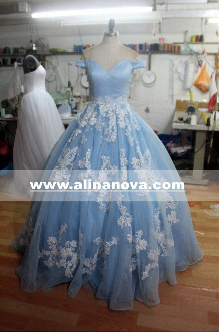 1beb30112d71 Elegant Tulle Ball Gowns Prom Dresses Lace Appliques Off Shoulder ...