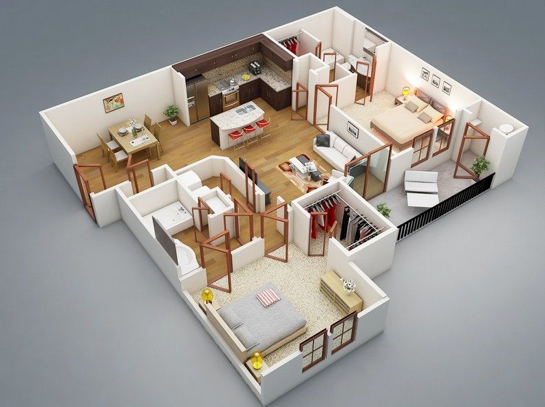 Design Your Own Apartment Online Free One Bedroom House 3d House Plans House Floor Plans