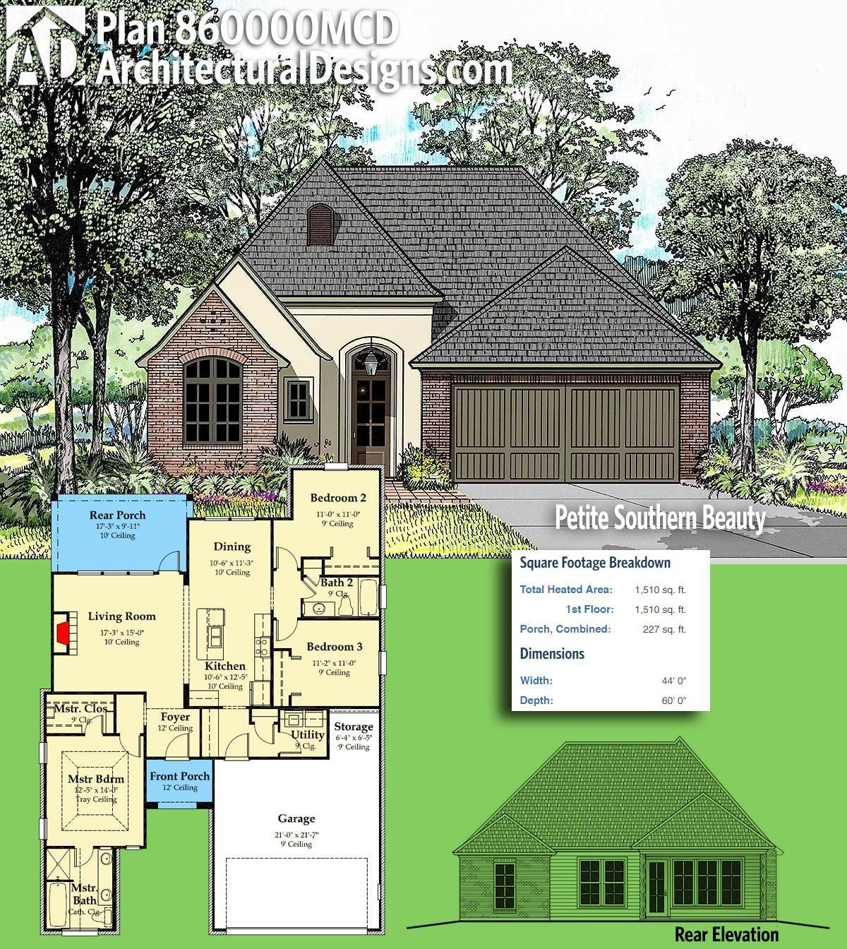 Plan 860000mcd Petite Southern Beauty Farmhouse Plans Southern House Plans Acadian House Plans