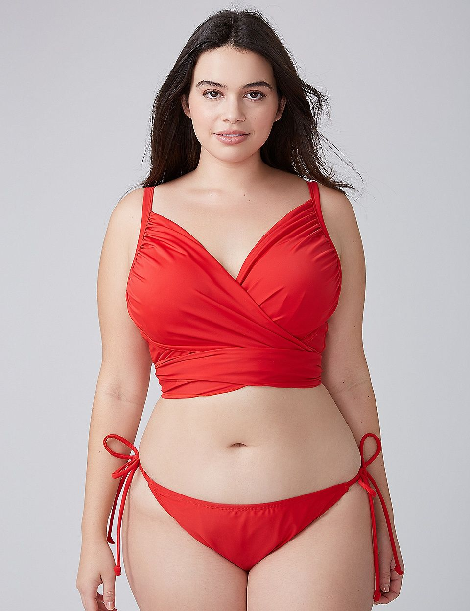 95259ee6d6 Wrap Longline Swim Bikini Top with Built-In Plunge Bra | Lane Bryant ...