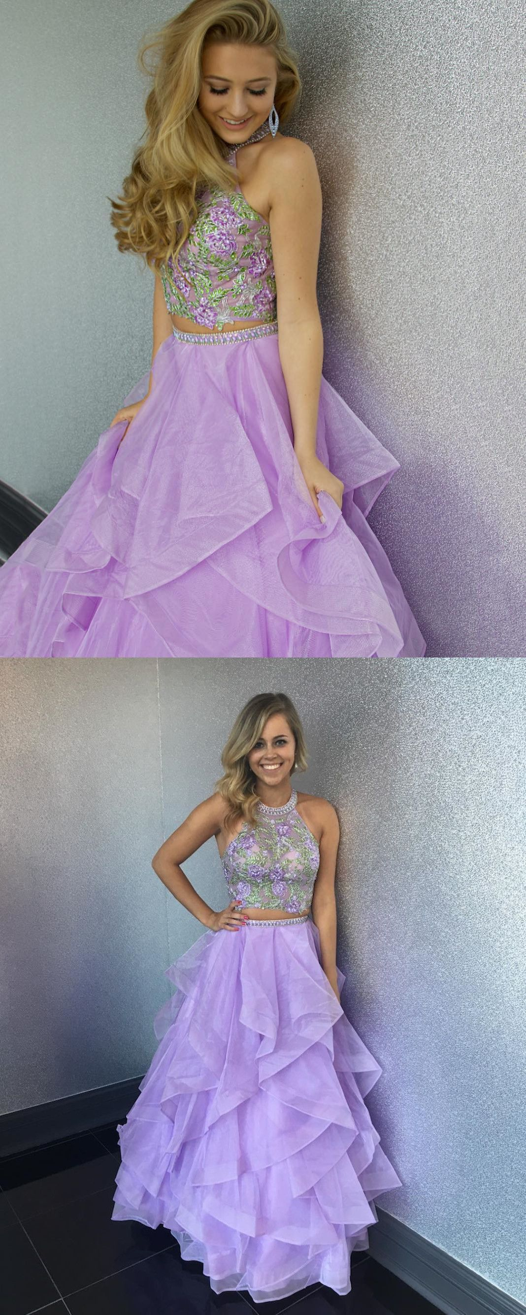 long prom dress two piece long prom dress long lavender prom