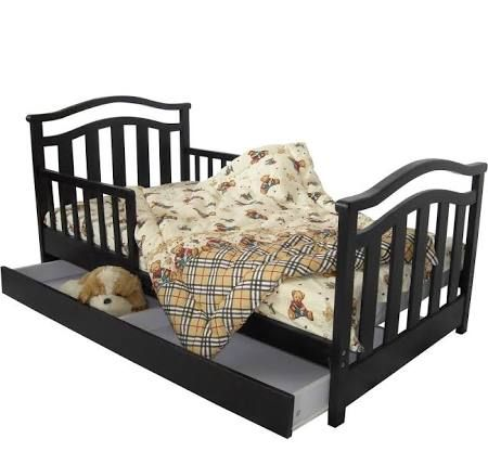 Dream On Me Elora Toddler Bed With Storage Drawer Finish Black 131 Toddler Bed With Storage Bed Storage Drawers Toddler Bed