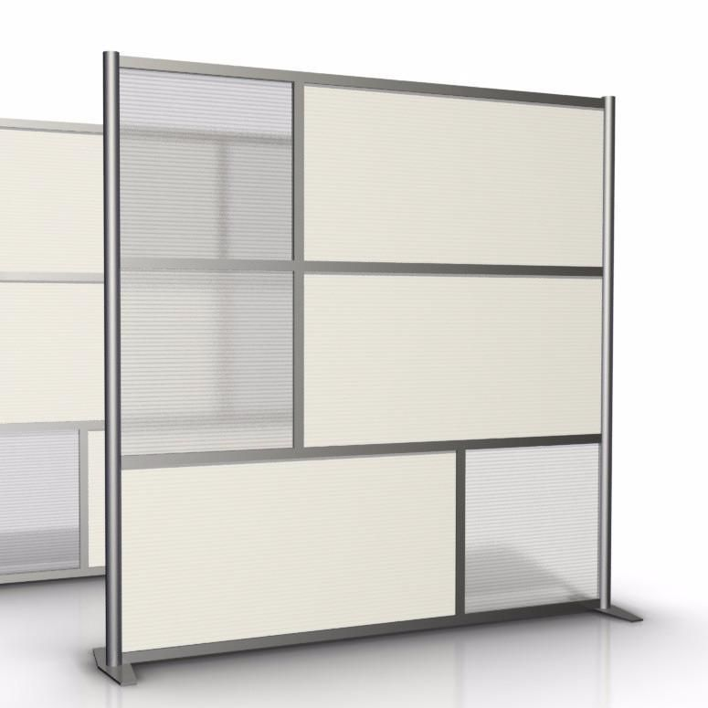 "75"" Wide X 75"" High Office Partition, White & Translucent"