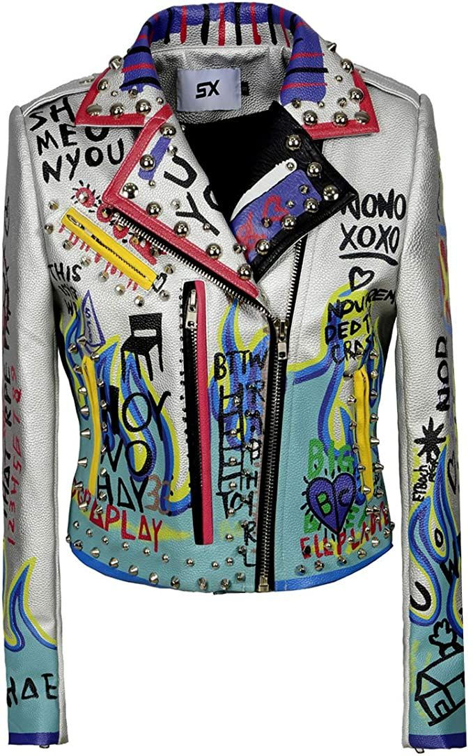 USA 🇺🇸 Women's Print Faux Leather Studded Graffiti Look