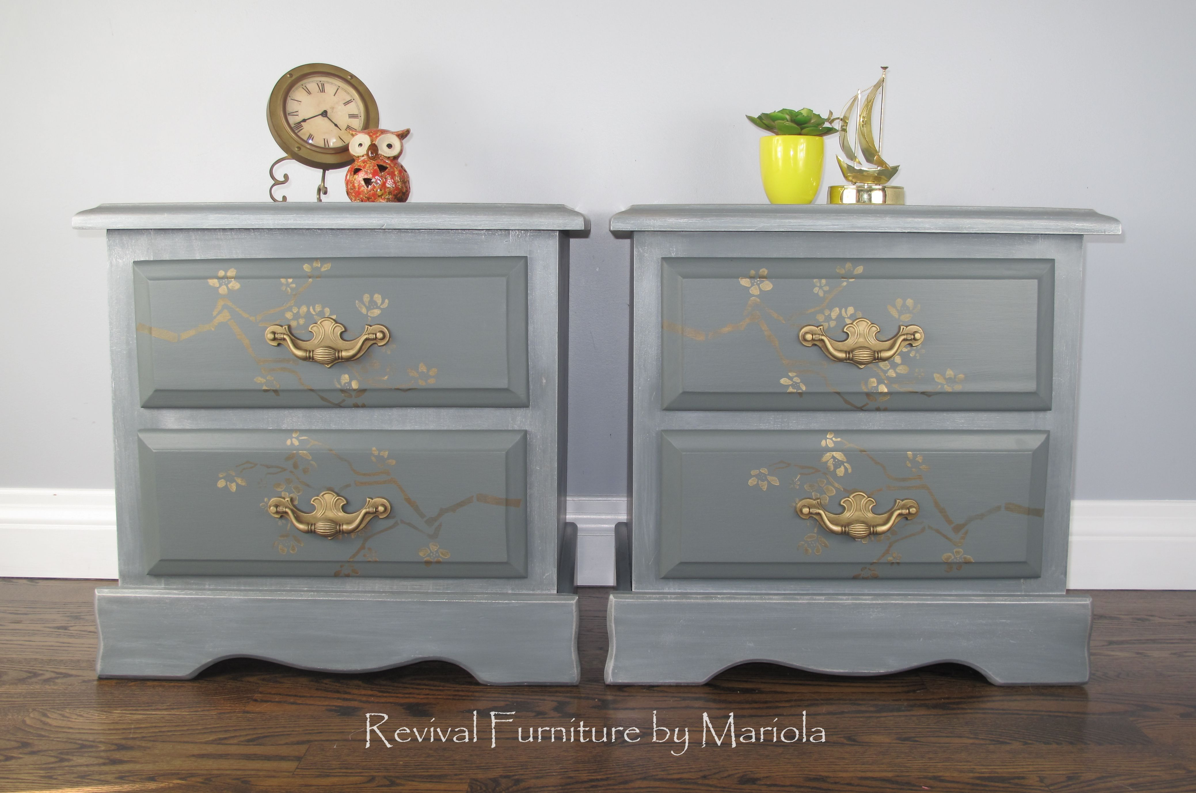 These Nightstands Were Finished Using Piypaintroducts I Used Gravelrock As My Base White Washing Painted Furniture For Sale Furniture Dresser As Nightstand