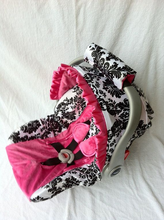 Damask with Hot Pink Minky Infant Car Seat Cover with Matching Neck Strap Set. I had this for Avery and I miss it so much, it is so adorable! One of my favorite baby items