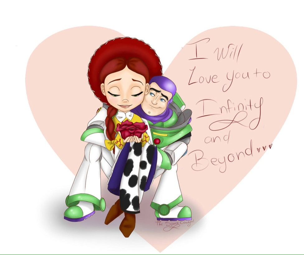 I Will Love You To Infinity And Beyond Jessie And Buzz Lightyear From Toy Story Toy Story Quotes Jessie Toy Story Disney Valentines