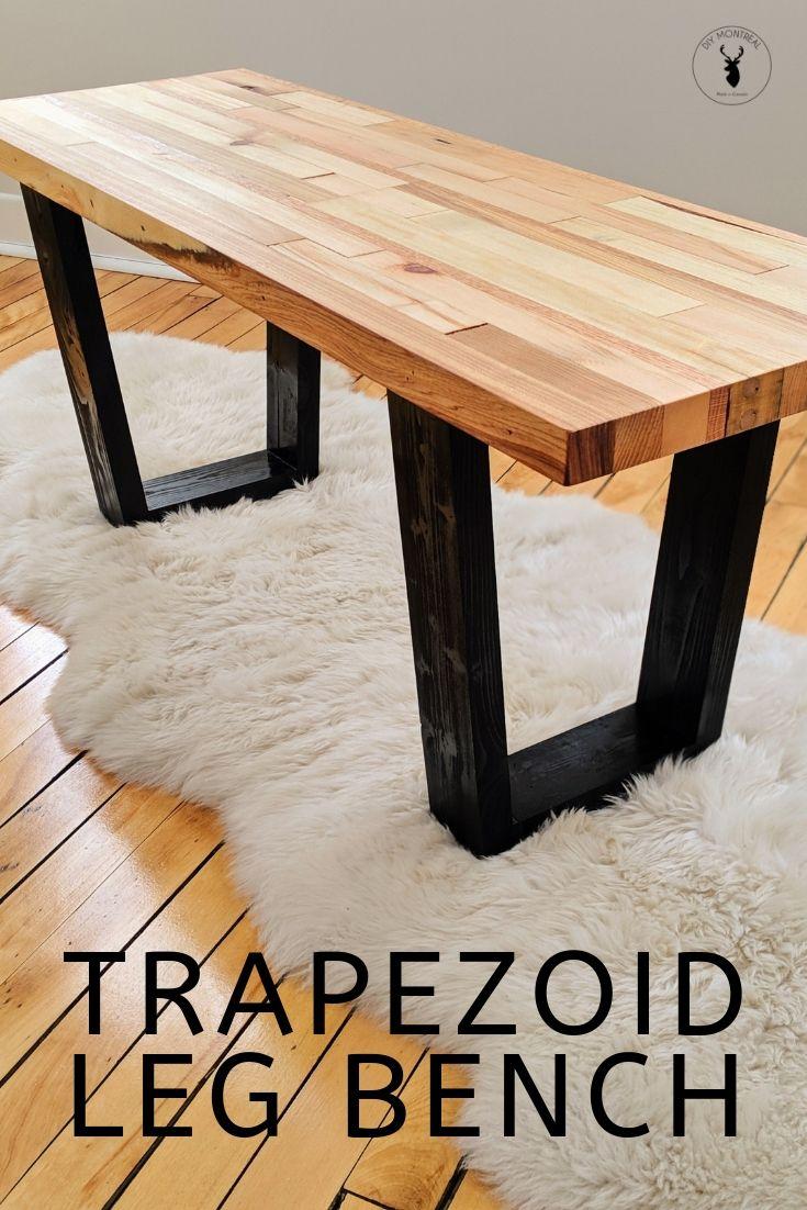 Trapezoid Leg Bench Diy table legs, Diy furniture making