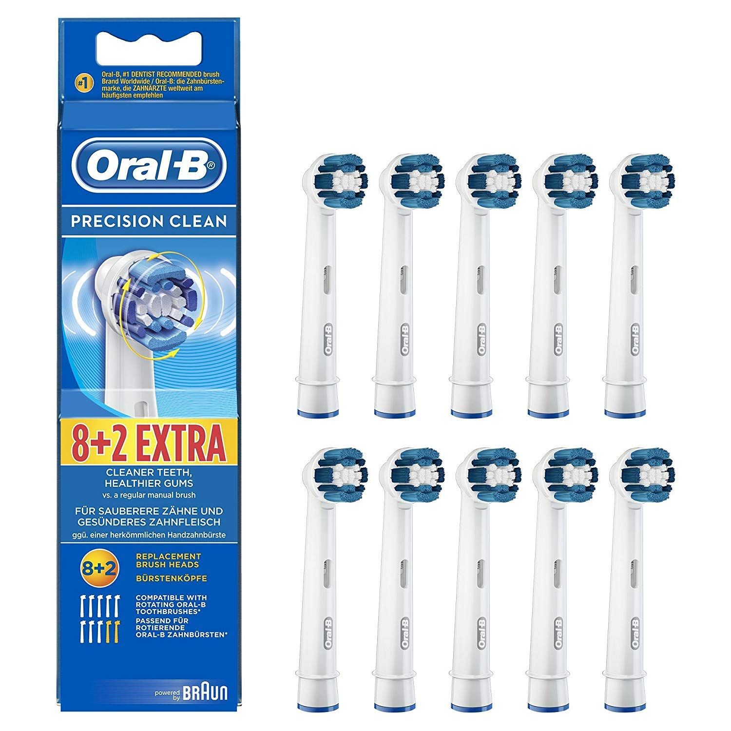 Genuine Original Oral B Braun Precision Clean Replacement Rechargeable Toothbrush Heads 10 Count International In 2020 Brushing Teeth Oral B Toothbrush Replacement