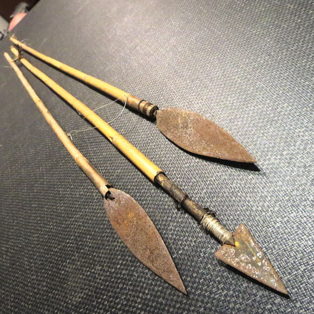 Vintage Bamboo Arrow Spear Primitive Hunting Lot 3