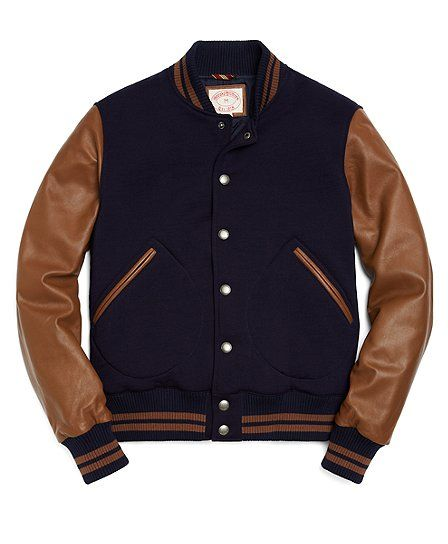 d623a7b004 Bomber Jacket with Leather Sleeves - Brooks Brothers | boyz noize ...