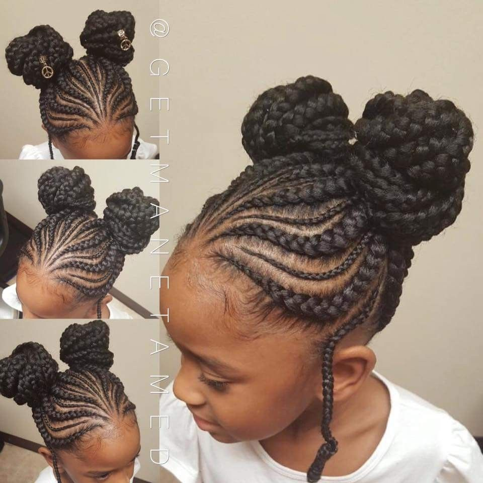 Double knot buns. Braided buns. Kids braids. Tribal braids ...