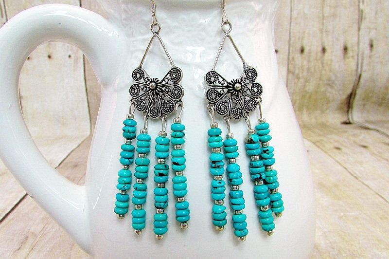e17a7f316 Turquoise Chandelier Earrings - ER18 - by daksdesigns on Etsy ...