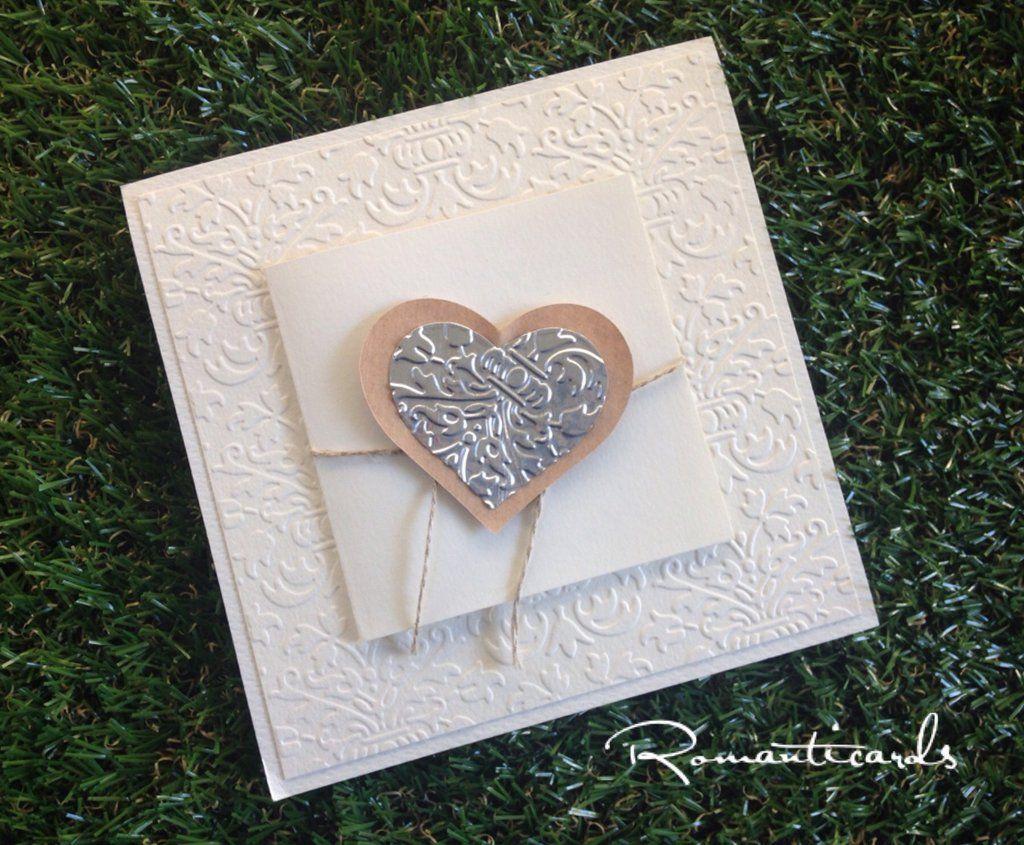 Partecipazione di matrimonio con chiusura a cuore Modello Lucca by Romanticards, by Romanticards e Little Rose Handmade, 3,20 € su misshobby.com