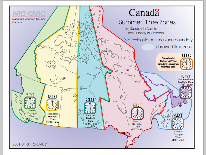 canadian time zones printable maps  student activity sheet
