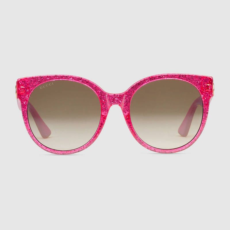 e03b8978975 GUCCI Auth GG0035SA Sunglasses Glitter Fuchsia Pink Round Ladies FS New   0916  GUCCI