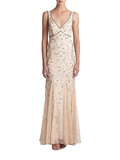 1920s long beaded wedding gown dress - Beaded  Floral Embroidered Tulle Gown $346.27 AT vintagedancer.com