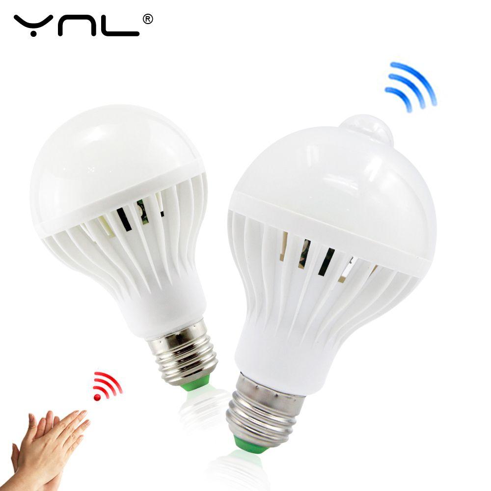 Ynl Pir Motion Sensor Led Lampa E27 220 V Zarowka Led 3 W 5 W 7 W 9 W 12 W Bialy Auto Inteligentny Pir Podczer Motion Sensor Lights Led Light Bulb Light Sensor