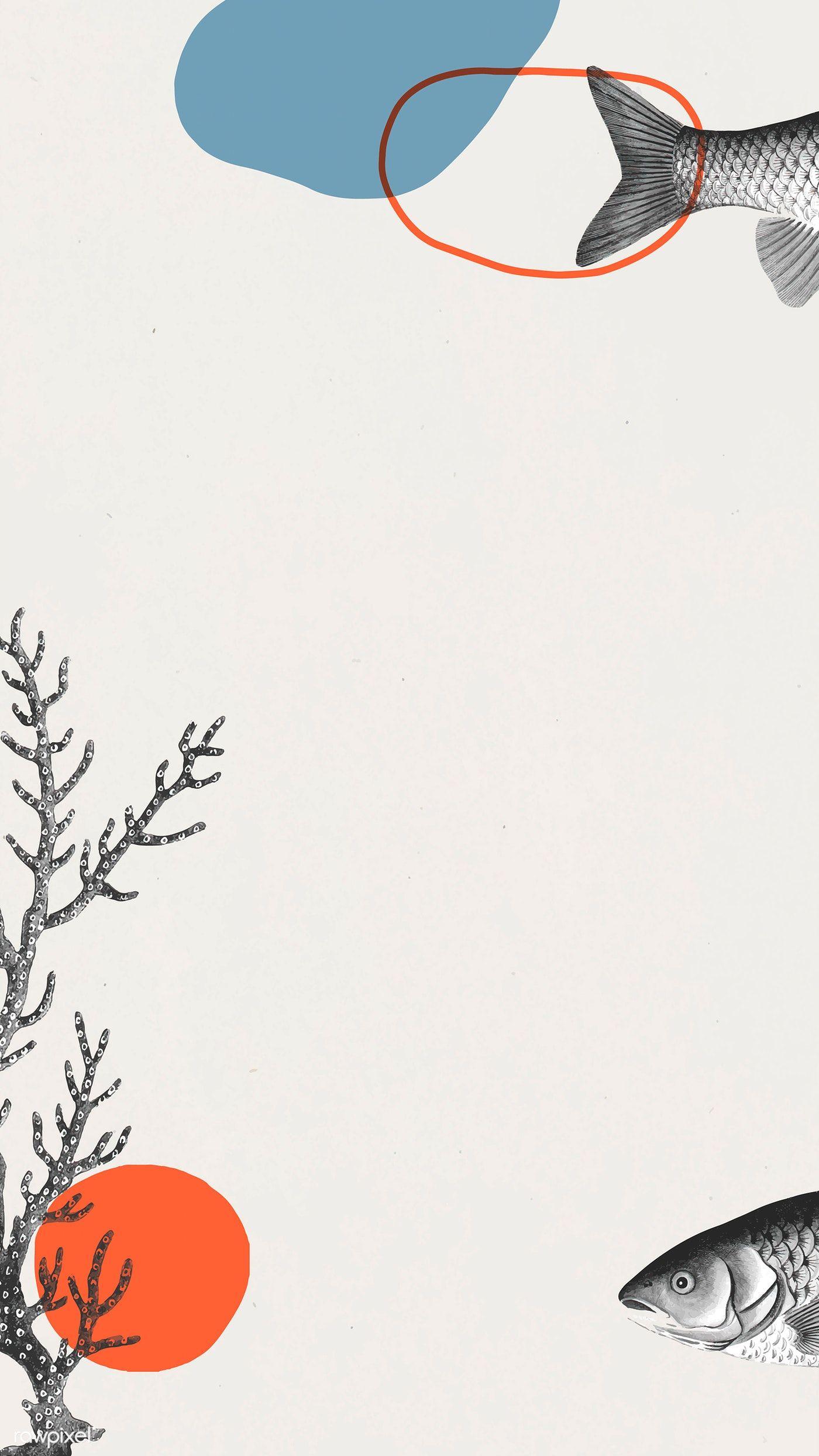 Download premium image of Vintage fish frame art vector