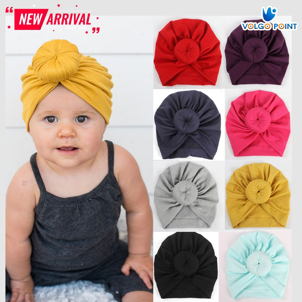 Newborn Kids Girls Beanie Cap Cute Baby Hat Knotted Headband Toddler Turban