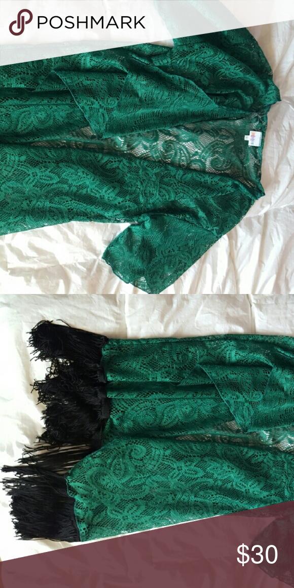 Lula roe Lindsay Kimono Brand new, w/o tags. Teal lace with black fringe on bottom. LuLaRoe Tops
