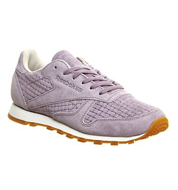 best sneakers bf685 265ba Reebok Classic Leather (w) Clean Woven Lavender Grey - Hers ...