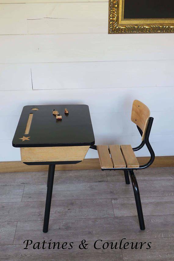Pupitre écolier Vintage Chaises In 2019 Bureau Ecolier Pupitre