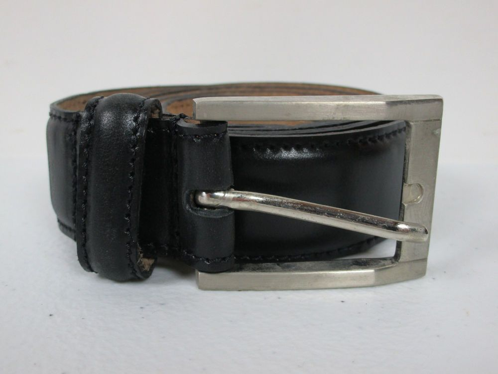 Mens Rossi And Caruso Black Leather Belt Size 34 With A Silver Buckle #RossiAndCaruso