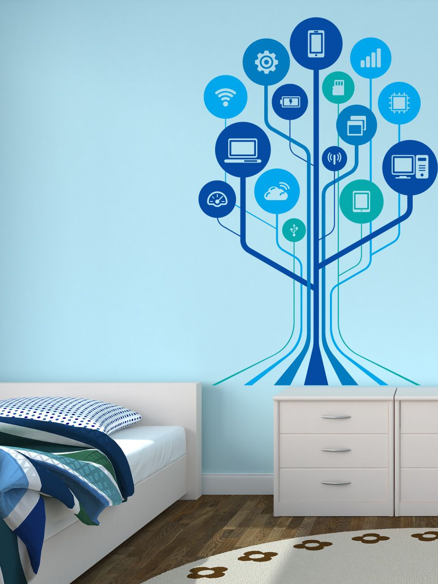technology wall decals  google search  tech decor  pinterest  - technology tree modern wall decal by wallmantra online store in india forspiritual funny  kids stickers wall tattoos wall clocks  graphics