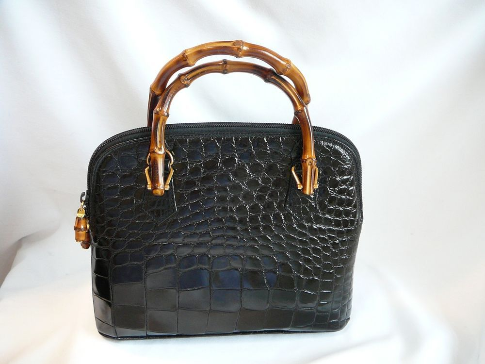 b58562d6c8a RARE Gucci glossy alligator bag with bamboo handles  13