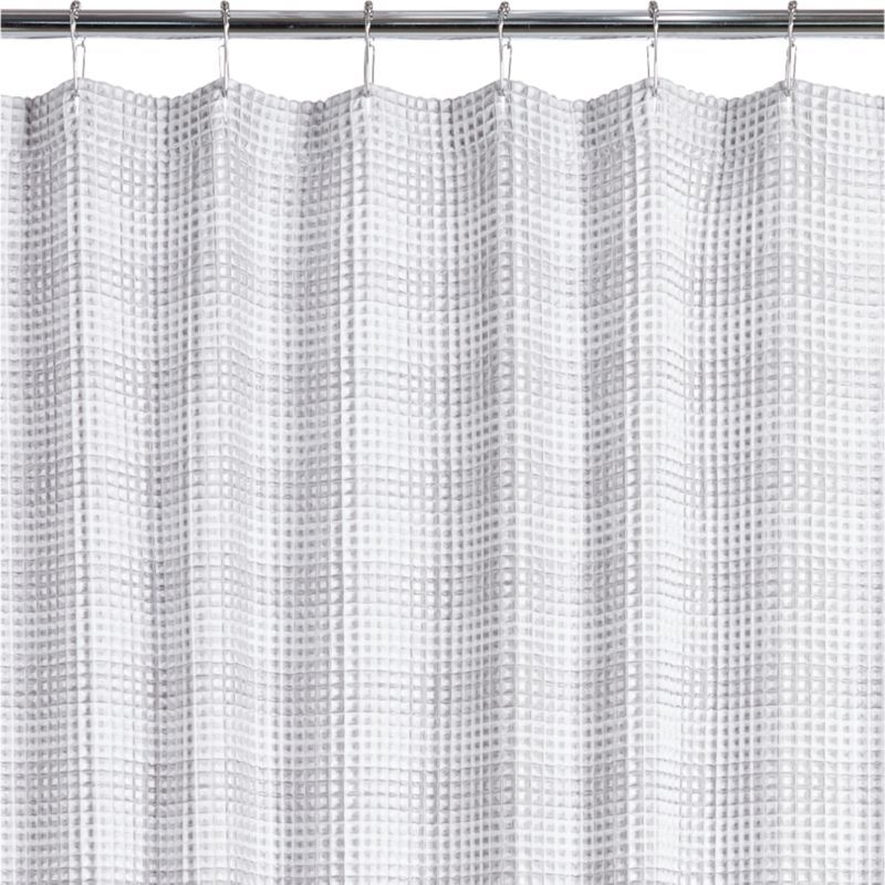 Free Shipping Shop White Waffle Weave Shower Curtain White Grey