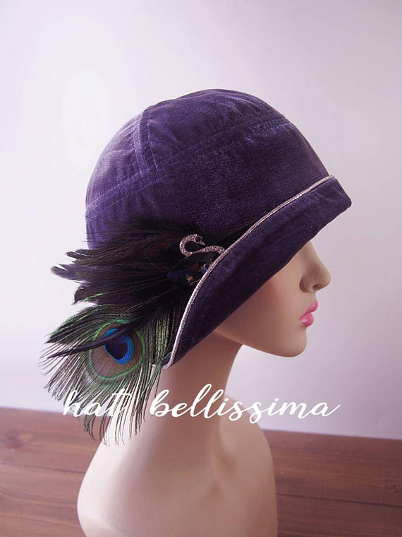 SALE purple 1920 s Hat Vintage Style hat winter Hats cloche Hats ladies hats  millinery hats hats with feathers Hats with a Brooch 30512d43ba0