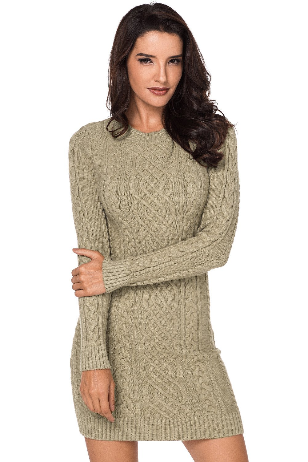 abdf595388c4 Robe pull Femme Hiver Manches Longues a Torsades Kaki Pas Cher  www.modebuy.com
