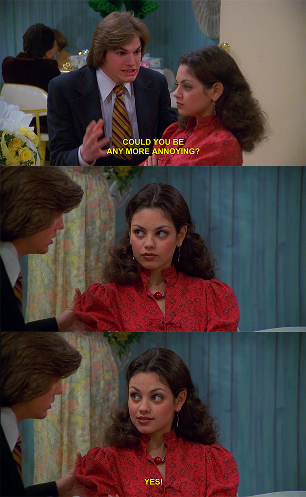 Jackie does get territorial over Fez in this episode but nothing romantic is implied, neither..