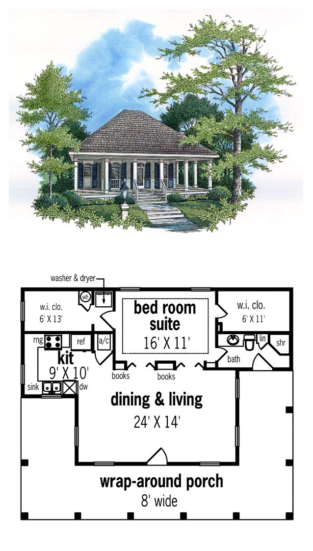 Southern Style House Plan 65675 With 1 Bed 1 Bath Colonial House Plans Guest House Plans Tiny House Floor Plans