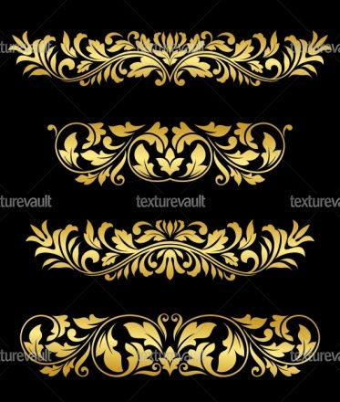Royalty Free Texture of Retro gold floral elements and embellishments - Texturevault.net