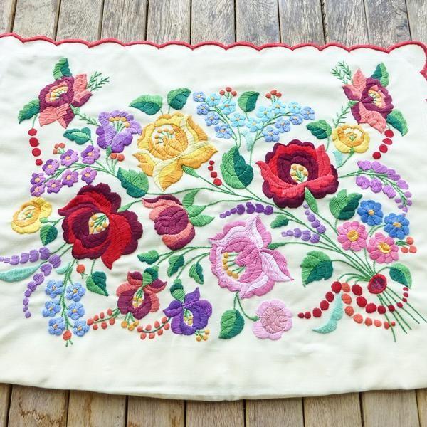 Hungarian handmade embroidered pillowcase with Kalocsa flowers,Folk art home decor