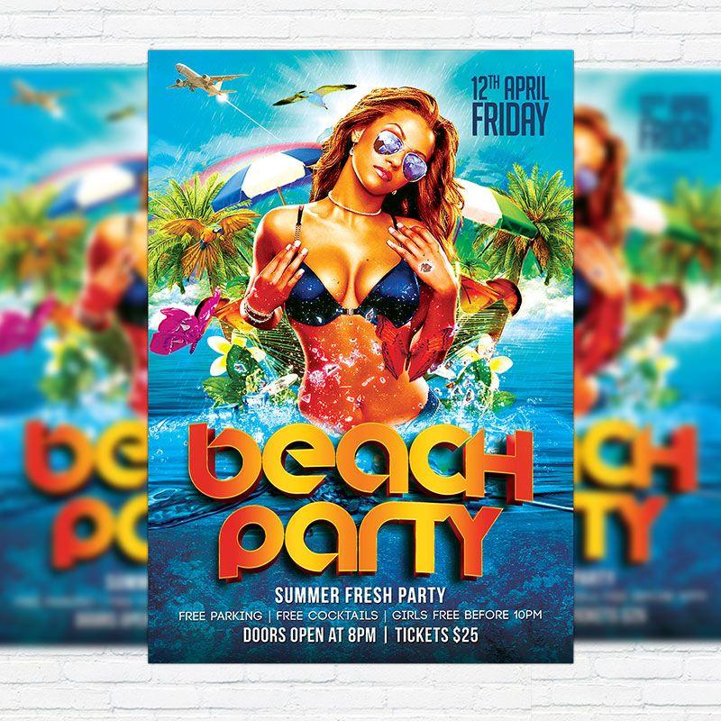 beach party premium flyer template facebook cover http