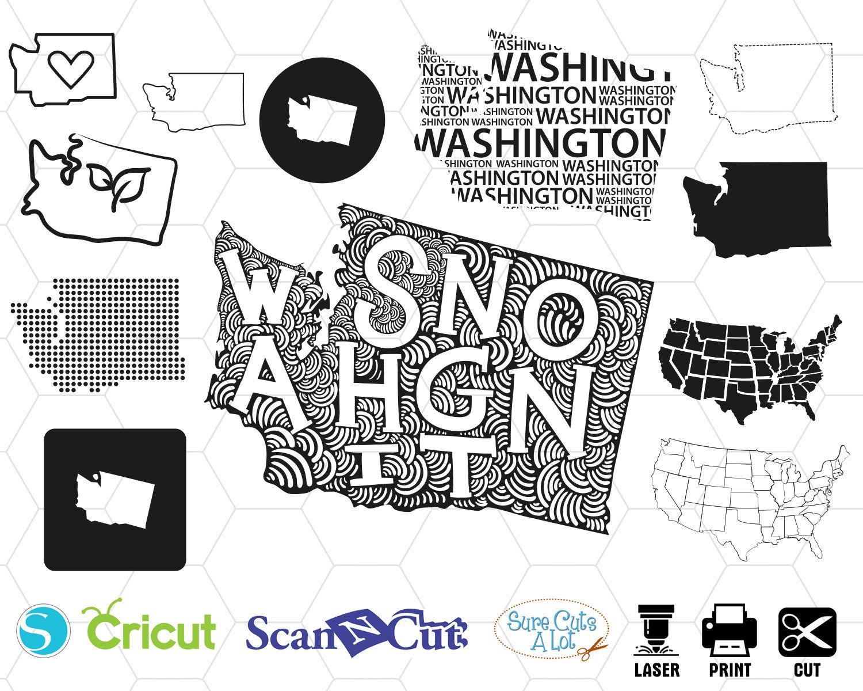 Washington State Svg Uniten States Svg Usa Svg Map Svg Etsy Svg Washington State Whole Image