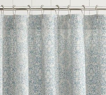 Sammie Tile Shower Curtain Porcelain Blue